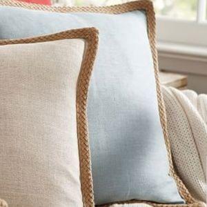 Pottery Barn Jute Braid Linen Square Pillow Cover